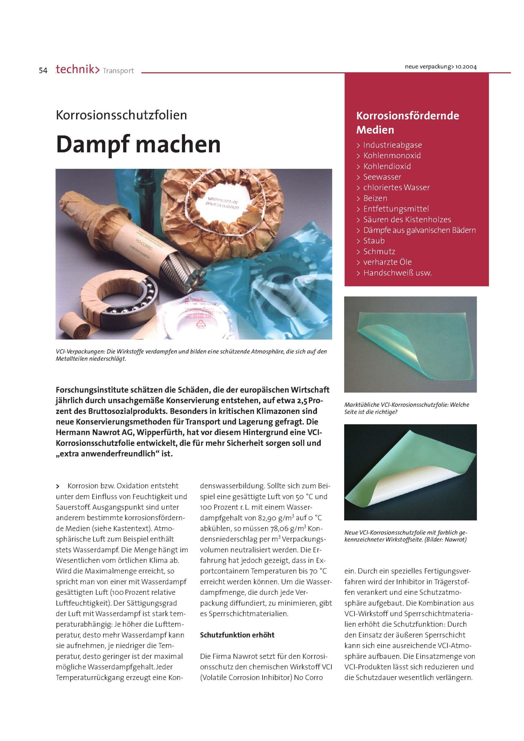 Downloads Zeitungsartikel Korrosionsschutzfolien Nawrot AG
