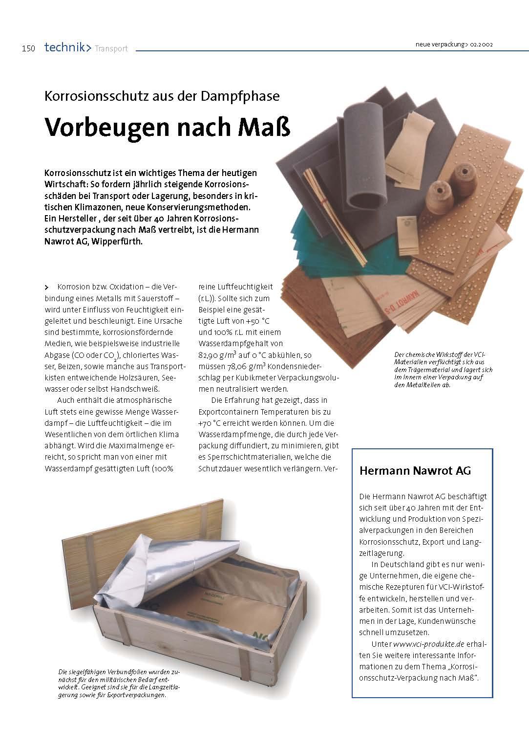 Downloads Zeitungsartikel Korrosionsschutz Dampfphase Nawrot AG