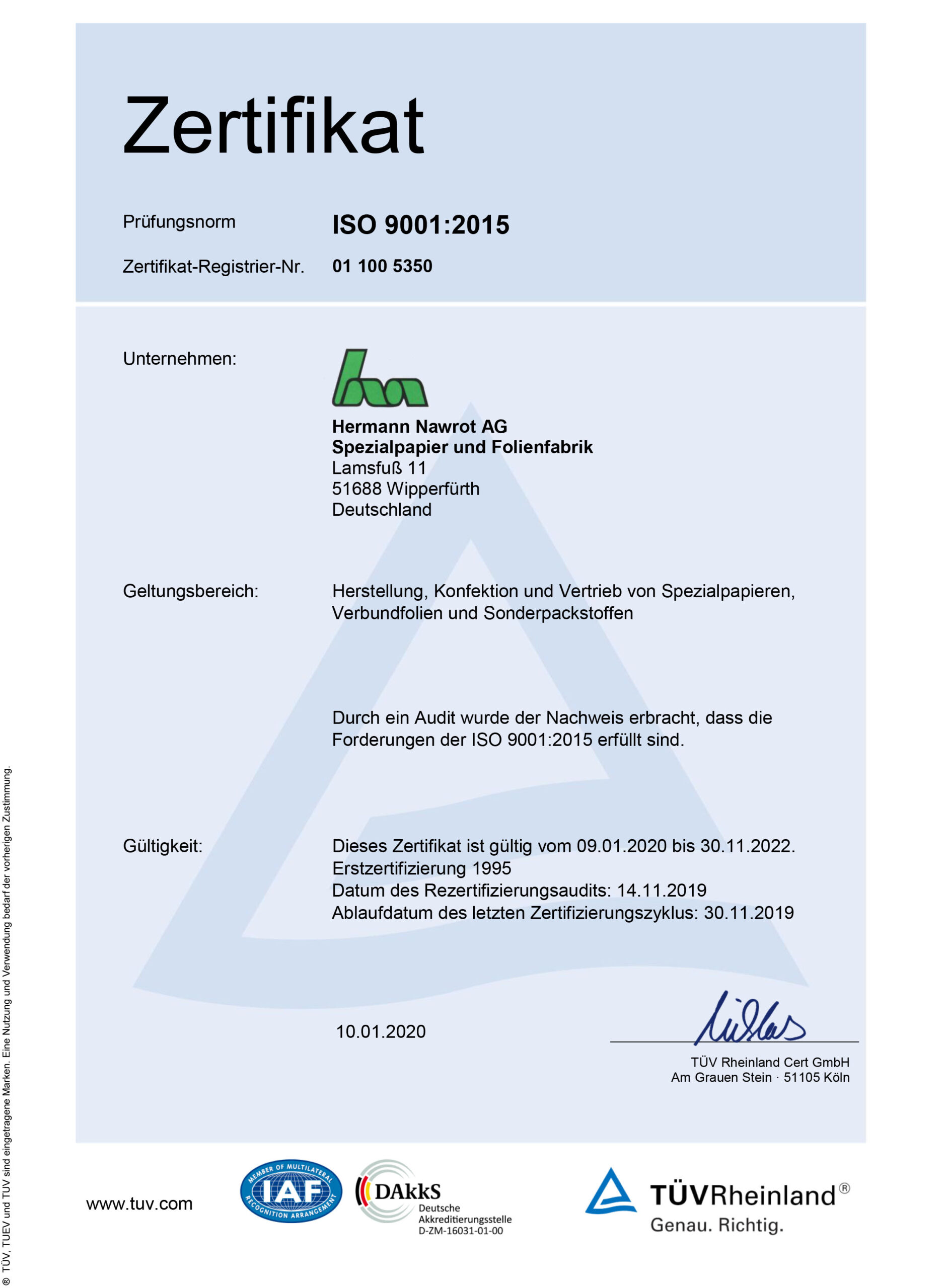 Downloads Zertifikat ISO 9001 DE Nawrot AG