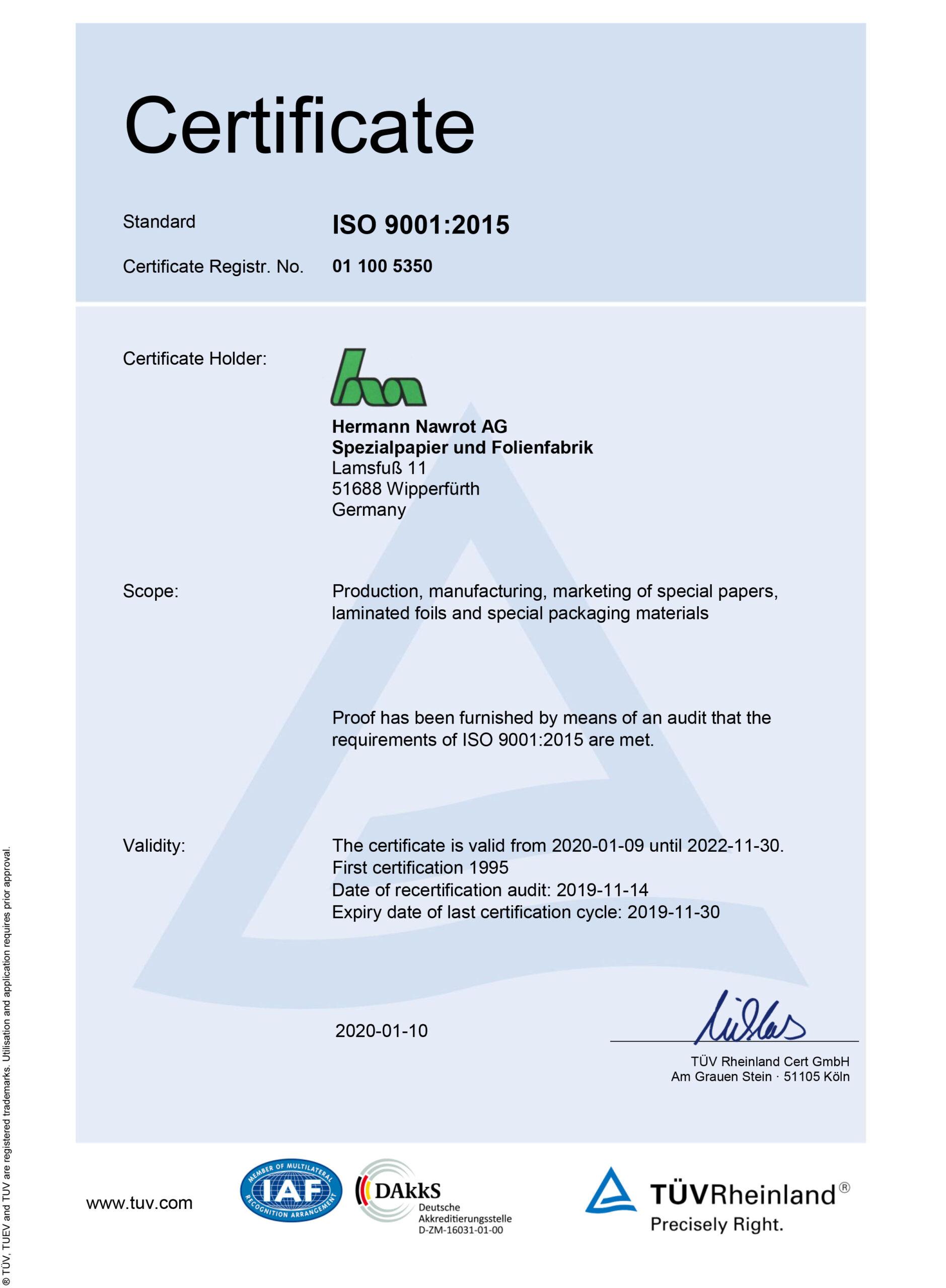 Downloads Certificate ISO 9001 EN Nawrot AG