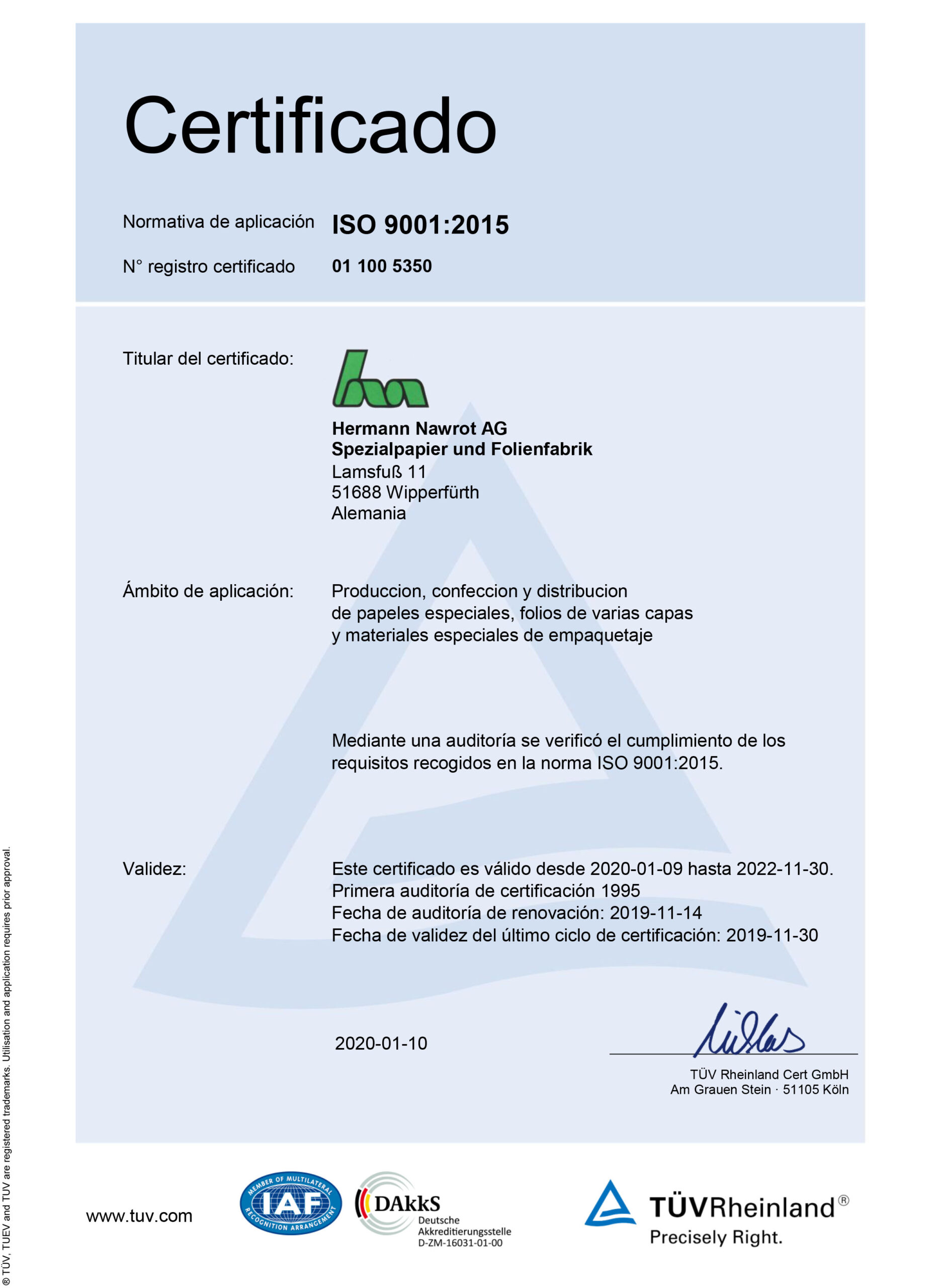 Downloads Certificado ISO 9001 ES Nawrot AG
